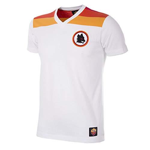 Copa As Roma - Maglietta da Uomo con Scollo a V Anni '80, Uomo, T-Shirt con Scollo a V, 6754, Bianco, XL