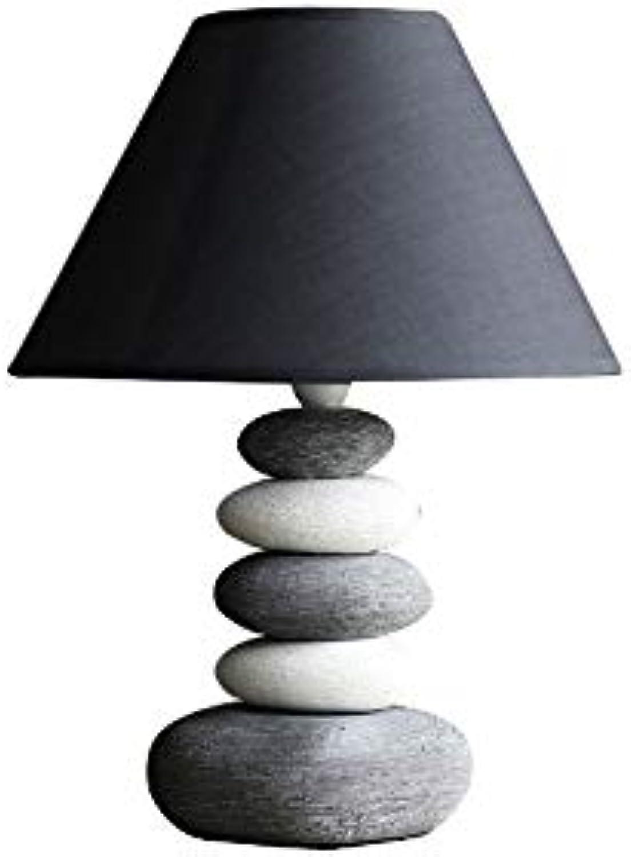 LDDEND Einfache und moderne warme kreative Keramik Tischlampe - Fernbedienung Plug-in Home Schlafzimmer Persnlichkeit Dekoration - Tischlampe Schlafzimmer Nacht - hellwei grau gestapelt Stein Basi