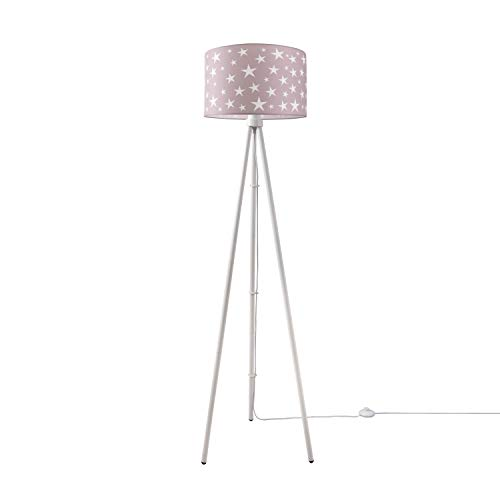 Kinderlampe Stehlampe LED Kinderzimmer, Sternen-Motiv, Deko Stehleuchte E27, Lampenfuß:Dreibeinig Weiß, Lampenschirm:Pink (Ø38 cm)