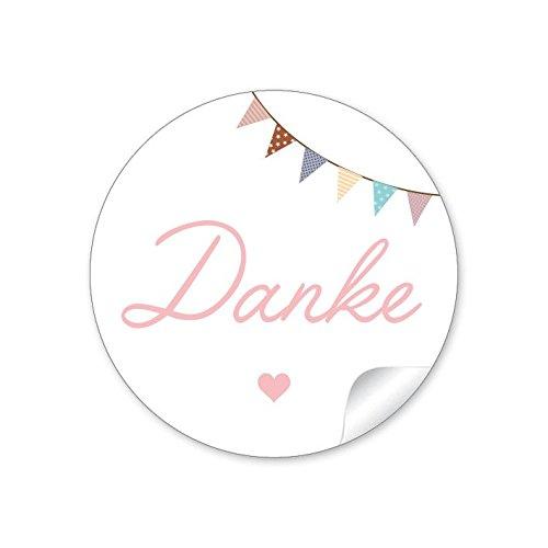 24 Sticker Geschenkaufkleber Danke in rosa mit Wimpel Kette (A4 Bogen) Zu jedem Anlass: Taufe, Hochzeit, Geburt Format 4 cm, rund, matt