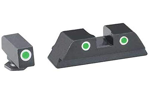 AmeriGlo Classic Sight 3 Dot Compatible with Glock, Green w/White Outline Front/Rear GL-113