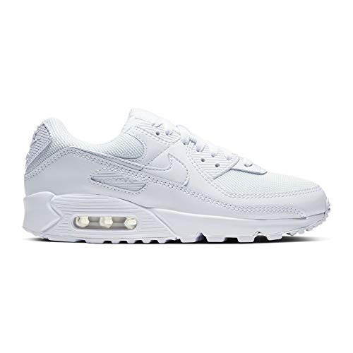 Nike Damen Air Max 90 Women's Shoe Laufschuh, White/White-White-Wolf Grey, 43 EU