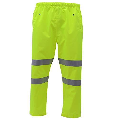 HSNMEY Regenhosen Warnschutz hohe Sichtbarkeit mit Hosentaschen reflektierend atmungsaktiv für Arbeit Sicherheit, Gelb 2XL