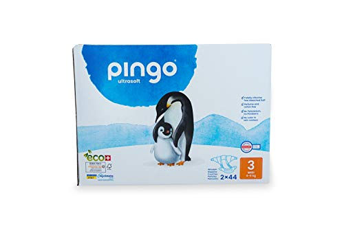 Pingo - Pañales Talla 3 Midi - 2 paquetes de 44 unidades- 4-9 kg -Pañales para bebé - Anti-alergénicos sin perfume - Máxima Absorción - Pañales ecológicos - Pieles sensibles - Color Blanco