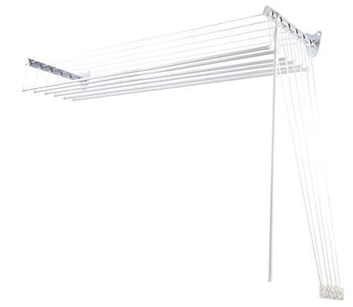 Steed Inox Stendibiancheria da Parete con Carrucole, Metallo, Bianco 120cm