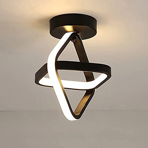 Goeco LED Lámpara de Techo Moderna, Lampara Pasillo Techogeometría cuadrada 22W, Plafón LED Techo para Armario Pasillo Balcón, Luz blanca cálida 3000K, negro