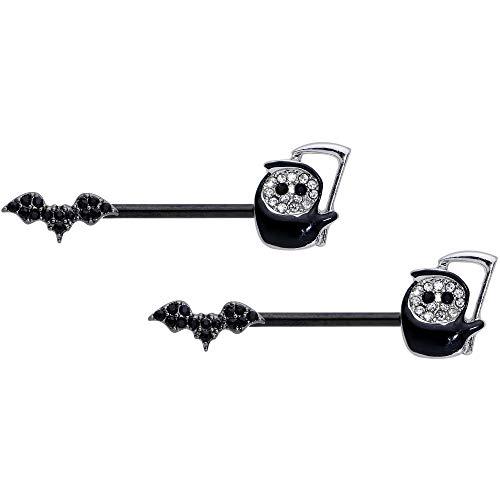 Body Candy 14G Womens Nipplerings Piercing Black Plated Steel 2Pc Black Grim Reaper Nipple Ring Set 9/16'