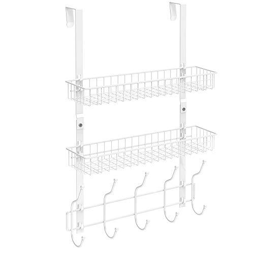 NEX Over The Door Basket Hook Organizer, 5 Hooks with 2 Basket Storage Rack for Coats & Towels