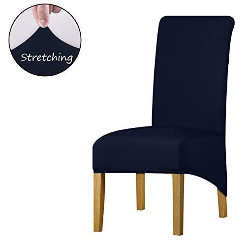 KELUINA Hoge rug Effen Stof Stretch XL Stoelhoezen voor Eetkamer, Spandex Grote Eetstoel Slipcovers voor Home Living Restaurant Hotel Set of 6 marineblauw