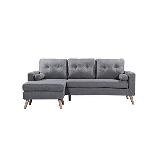 Divano scandinavo ad angolo in tessuto, grigio chiaro, VIK
