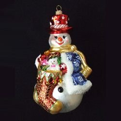 KSA Snowman with Overflowing Holiday Stocking Polonaise Christmas Ornament 6.3'