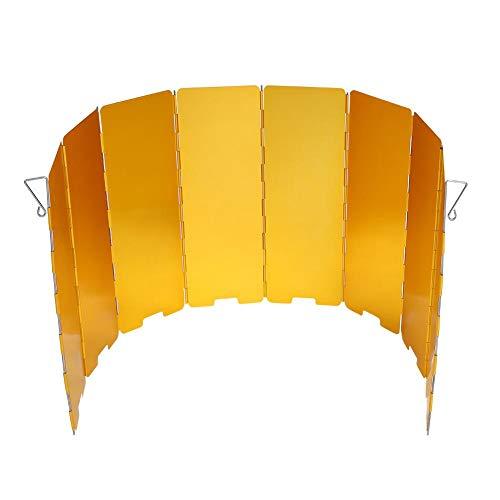 OKBY Parabrisas de Estufa -8 Placas Parabrisas de Estufa Plegable Accesorio para Acampar al Aire Libre Cocinar Gas Protector de Viento(Amarillo)