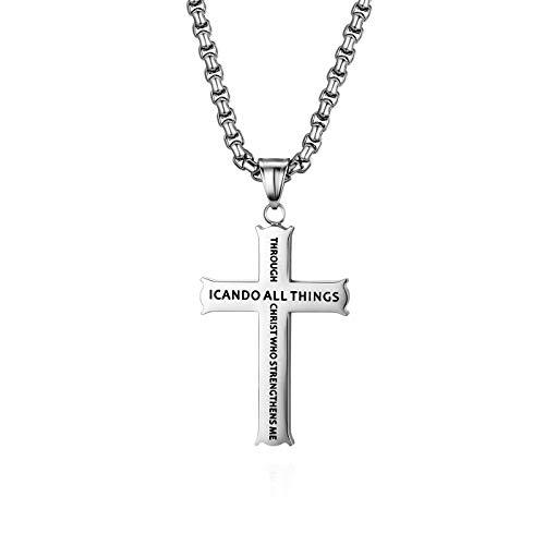 Cupimatch Kreuz Halskette Herren Edelstahl Kette mit Bibel Gravur für Männer Hals Schmuck Christ Anhänger Jungen 56cm, Silber