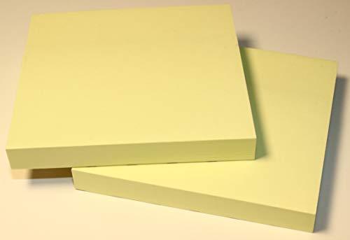 """Notiz Block 2er Set selbstklebende Haftnotizzettel Klebezettel Zettelblock Schreibblock Kühlschrank Schwarzes Brett 76 x 76 mm 2 Notizblöcke quadratisch à 100 Blatt gelb """"EINWEG"""" -verpackt (2)"""