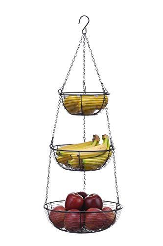SunnyPoint 3 Tier hanging Fruit Basket Black Coating
