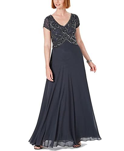 J Kara Women's Petite Cap V-Neck Beaded Dress, Gray, 12P