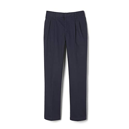 French Toast Big Boys' Pleated Double Knee Pant with Adjustable Waist, Navy, 14