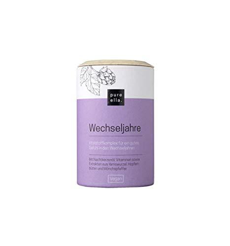 PURE ELLA WECHSELJAHRE, Vitalstoffkomplex bei Symptomen der Wechseljahre, enthält Mönchspfeffer und Nachtkerzenöl, unterstützt natürlich und hormonfrei, vegan (60 Kapseln)