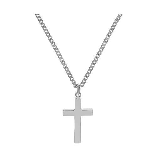 Herren-Kreuz mit Kette 925 Silber Weiß Silberkreuz Kreuzanhänger Herren 1411100/60+70085