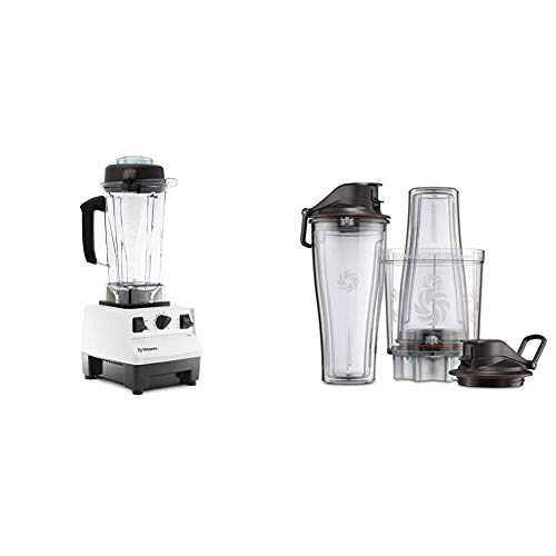 Vitamix Blender Professional-Grade, 64 oz. Container, White & Personal Cup Adapter - 61724