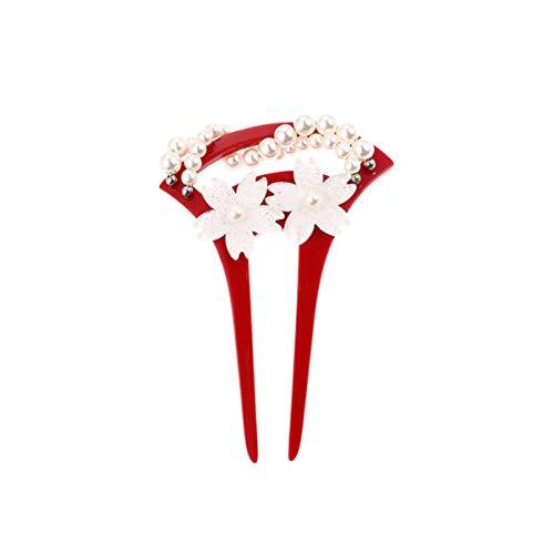 Lurrose Blume Haargabel Vintage Floral Perlen Haarstab Acryl U-Förmige Haargabel für Frauen (Rot)