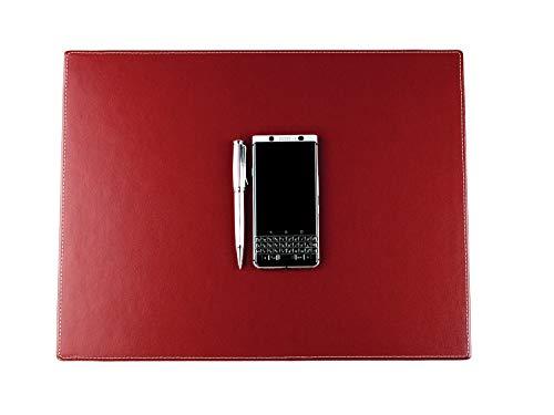 DELMON VARONE - Personalisierbare Schreibtischunterlage Cambridge Top Grain Leder rot, Rutschfeste Echtleder Schreibunterlage abwaschbar, Schreibtisch Unterlage geeignet als Mouse Pad, 45 x 35 cm