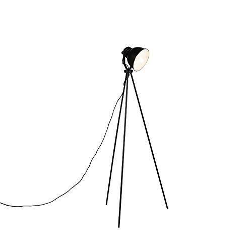 QAZQA Industrieel Industriele vloerlamp zwart - Frodo Staal Langwerpig/Rond Geschikt voor LED Max. 1 x 40 Watt