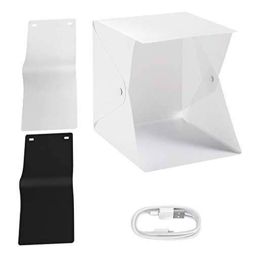 Uzinb Folding Lightbox Mini Fotografie Leuchtkasten Mobile Fotostudio Light Box Mini Booth Schießen Folding Softbox Shooting Foto Zelt mit LED-Licht 2 Farben Hintergründe