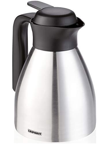 Leifheit Shine 0, 6 L Isolierkanne, 100% dicht, Thermoskanne mit doppelwandigem Edelstahl-Isolierkörper, praktisches Öffnen und Schließen mit einer Hand, Kaffekanne, Teekanne, silber schwarz