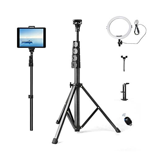Stativ Kamera, 160cm Handy Stativ mit Kostenlos Handyhalterung, Bluetooth Fernbedienung & Ringlicht, Lightweight Tripod Ständer für DSLR, Gopro, Smartphone Kamera Stative