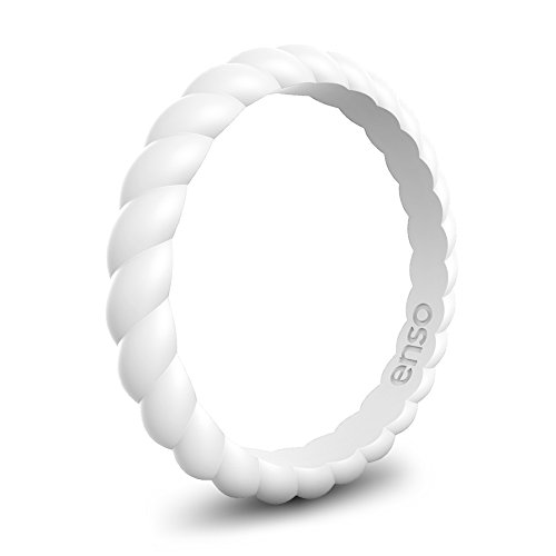 Enso Rings Stackable Braided Silicone Wedding Ring – Hypoallergenic Unisex Stackable Wedding Band – Comfortable Minimalist Band – 2.5mm Wide, .8mm Thick (White, Size 8)