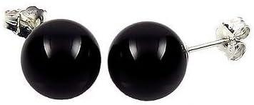 Trustmark 14K White Gold 8mm Black Onyx Ball Stud Post Earrings
