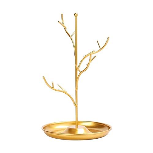 QIAOLI Colgador de Joyas Pantalla de la exhibición de la joyería de la Rama de árbol Collar de Hierro Pendiente Pulsera Titular Organizador Rack Tower Holder Organizador de Joyas (Color : Gold)