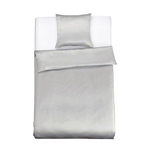 LilySilk Seide Bettwäsche-Set 2 teilig Bettbezug 135x200cm Kissenbezug 80x80cm Seide Unifarben 19 Momme-Silbergrau Verpackung MEHRWEG