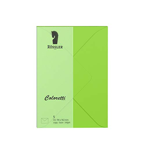 Rössler 220705522 Coloretti Briefumschläge, 80 g/m², C6, 5 Stück, hellgrün