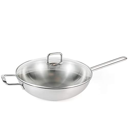 Wok 30cm Large Diameter Single Handle 304 Stainless Steel Chinese Style Wok, General Purpose for Open Flame Induction Cooker