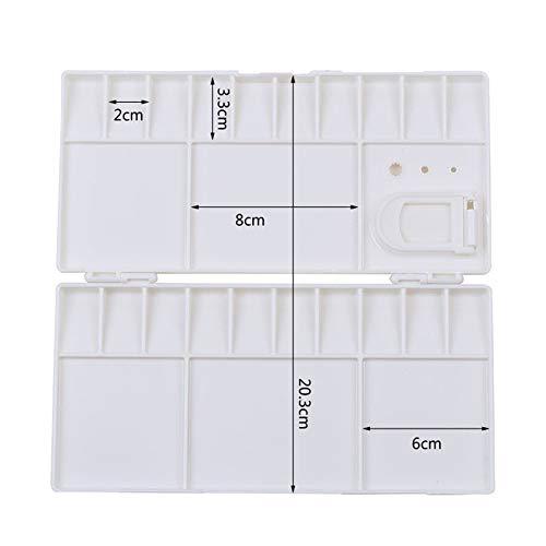 HCTX Plegable Herramienta de diseño de Paleta Tiempos Material de Bellas Artes Caja del Libro Blanco de Pintura de Acuarela 25 Rejilla PP,1pcs