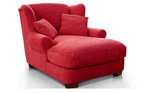 CAVADORE XXL-Sessel Oasis / Großer Polstersessel im modernen Design / Inkl. 2 schöne Zierkissen / 120 x 99 x 145 / Webstoff in rot