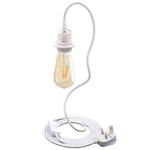 Plug in Pendant Light Cord 3-Cores Hanging Lamp Wire Fitting Kit with E27 Lamp Holder Extension Thick Cable with Switch Pendant Lamp for Indoor DIY Lampshade(No Bulb) (White)