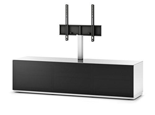Sonorous STA 161T-WHT-BLK-BS stehende TV-Lowboard mit TV-Aufhängung, versteckten Rollen, weißer Korpus, obere Fläche, gehärtetem Weißglas und Klapptür mit schwarzem Akustikstoff