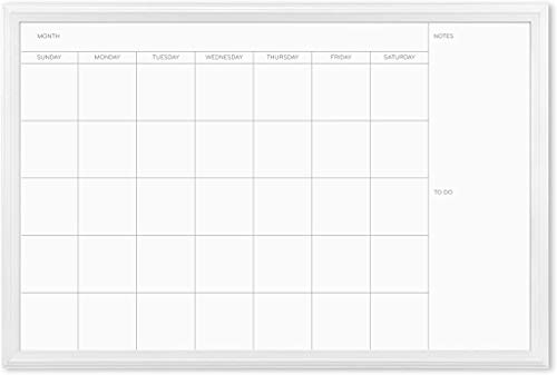 U Brands Magnetic Dry Erase Calendar Board, 20 x 30 Inches, White Wood Frame (2075U00-01)