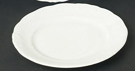 Preisvergleich für 6 Kuchenteller Dessert Teller flach 21cm Frederike Weiss Classic Luxus Design Neu Relief Rund Porzellan 6 Personen