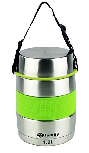 FAMILY Thermos per alimenti in acciaio inox, contenitore isolato per solidi e liquidi con contenitore interno per zuppe, salse o insalate (verde, 1,2 litri)