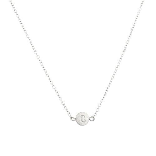Lux Accessories Collar con colgante inicial; colgante redondo, sencillo y delicado.