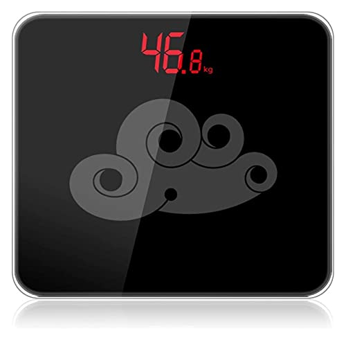 Precision Badrumsvågar Digital Easy Read Display Stor plattform Steg-on för omedelbar vikt läsning multifunktion (Color : Black)