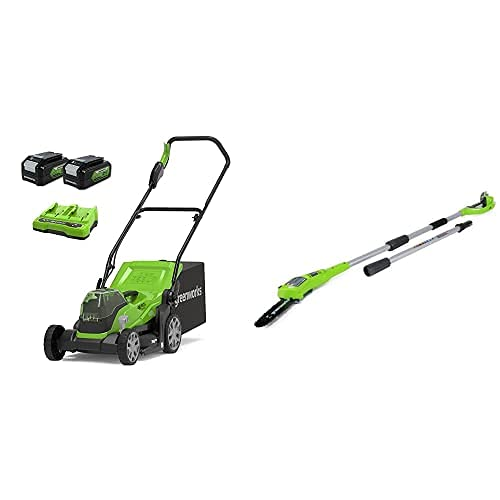 Greenworks Tools Cortacésped 2512507UD, 48 V, 2 x batería 4 Ah + Podador de Pértiga de Batería G24PS20, Li-Ion 24V 20 cm Longitud Espada 6.7m/s Velocidad de Cadena, 280 cm Barra Aluminio, 3 Piezas