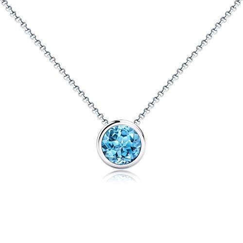zlw-shop Collar de Mujer 1 Forma Ronda Quilates Colgante de topacio Azul de la Plata Este clavícula Cadena Regalo del día de San Valentín Collares Pendientes
