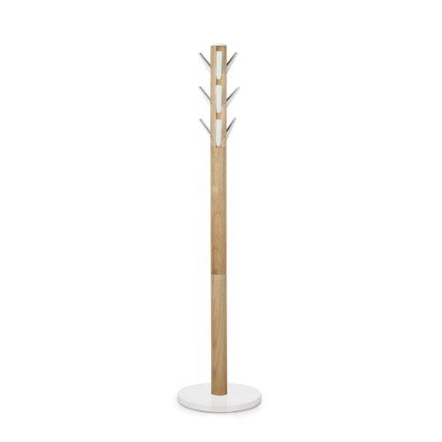 Umbra Flapper Perchero de pie, Blanco / Naturaleza, 40 x 40 x 169 cm