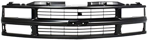 Grille Assembly Compatible with 1994 1999 Chevrolet K1500 Cross Bar Painted Black Shell and product image
