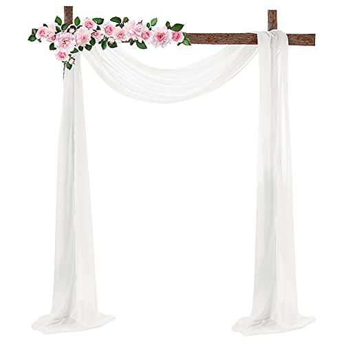 RESOYE - Tenda da drappeggio per matrimoni, 67 x 516 cm, in tessuto chiffon, colore bianco, per matrimoni, feste, cerimonie, decorazioni per palcoscenici
